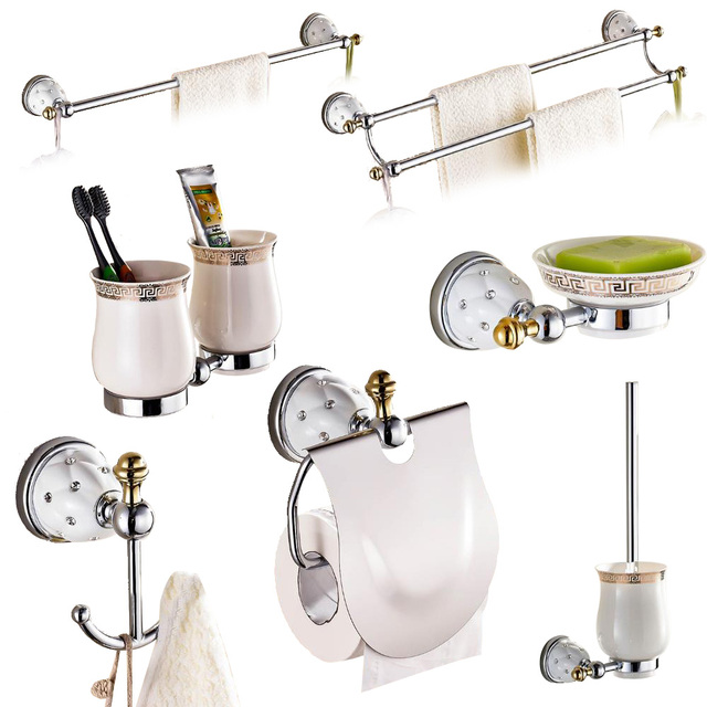 Br Silver Polished Bathroom Accessories Sets Diamond Crystal Hardware Set Wall Mounted Products