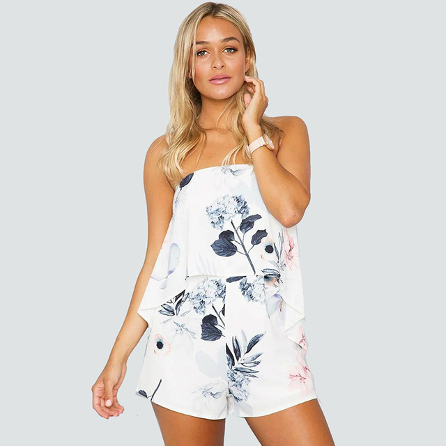 2017 mulheres verão jumpsuit romper Strapless floral print sexy tubo bodysuit beachwear Ocasional chifon verão playsuit collant p35