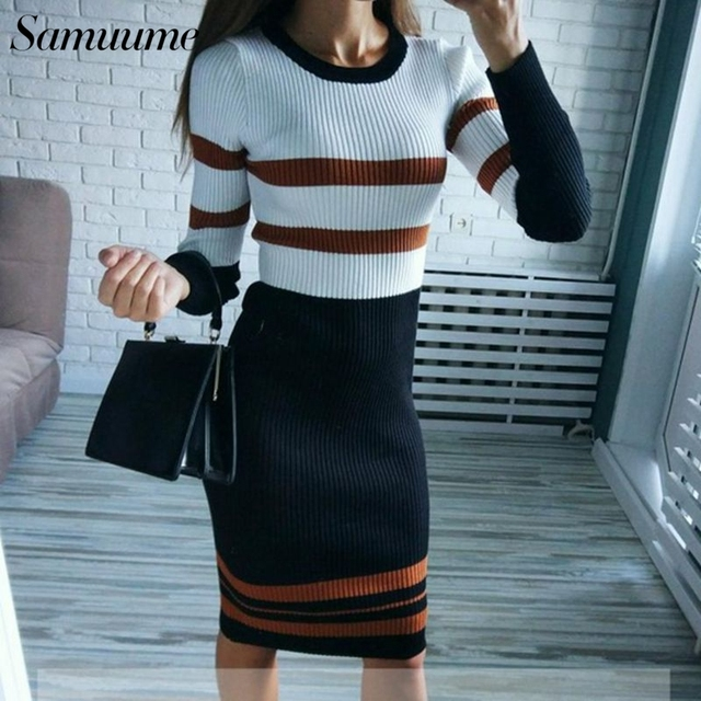25659e1319c Samuume 2019 Women Striped tight Autumn Knitted Dress Sheath Long Sleeve  Winter Casual Pencil Midi Pink