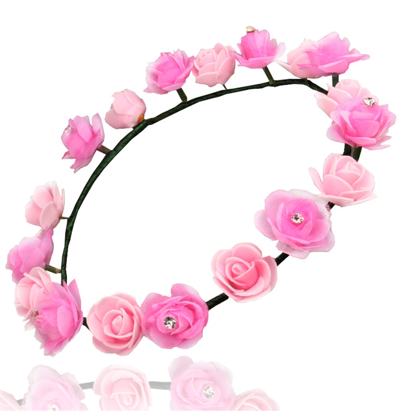 special design floral wreath garland with pearls PE material women flower hairband leisure hair accessory