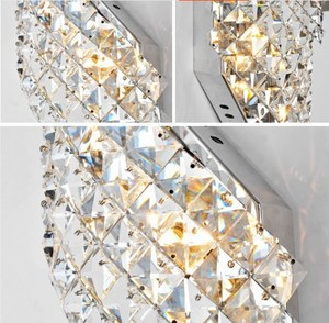 Image 5 - Wall Sconce Modern LED Crystal Wall Lamp With 2 Lights For Home Lighting Wall Sconce Arandela Lamparas De Pared