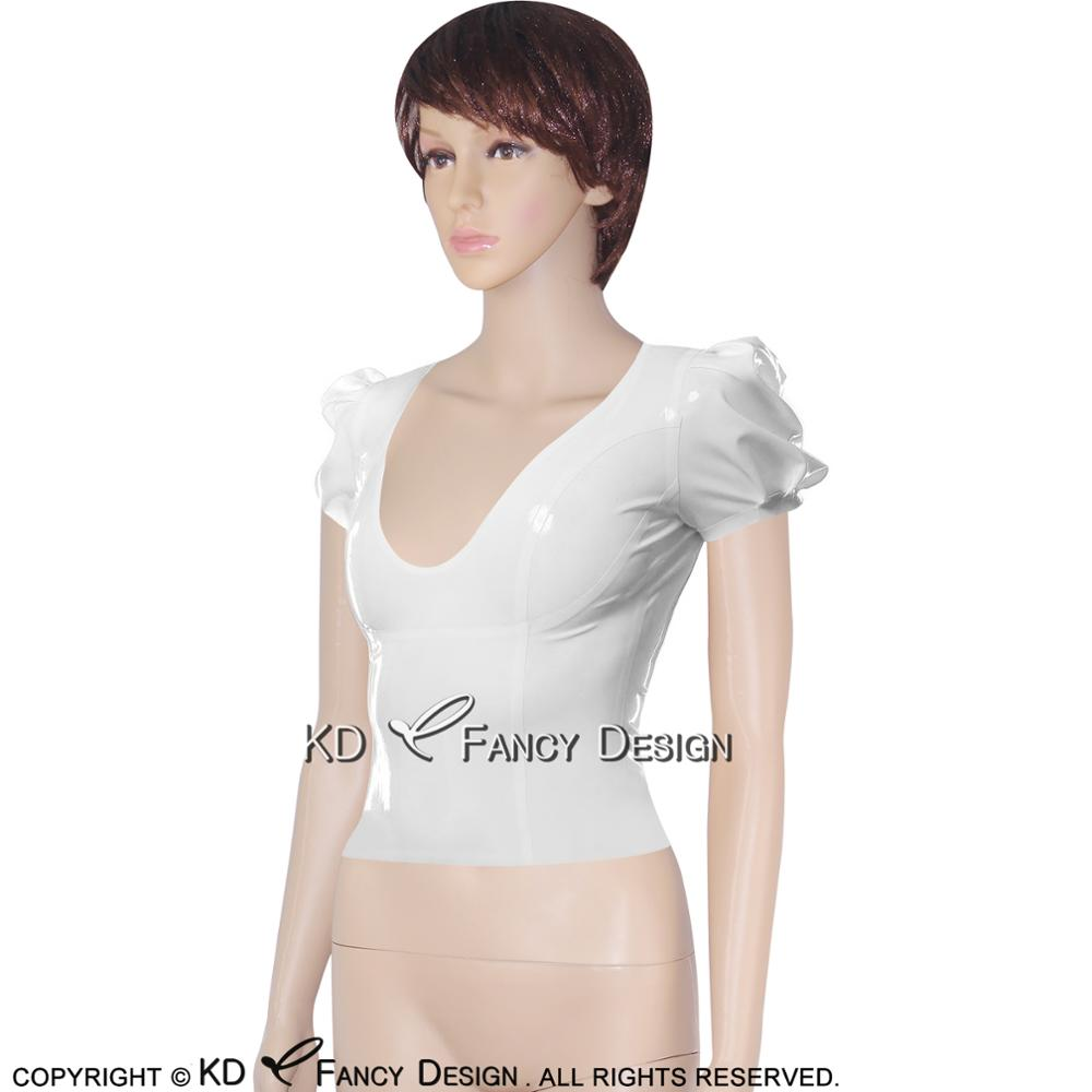 White Sexy Latex Shirt With Zipper At Back Puff Sleeves V Neck Rubber Blouse Top YF