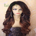 Blonde ombre synthetic lace front wig body wave dark root heat resistant synthetic lace front wig for black women glueless wigs