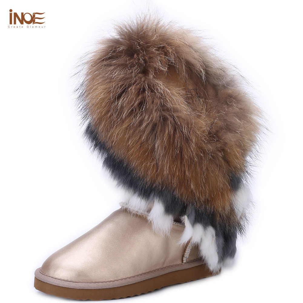 אופנה שועל פרווה גבוהה שלג מגפי נשים מצויץ גדילים אמיתי כבש עור צמר פרווה חורף מגפיים עמיד למים נעלי דירות