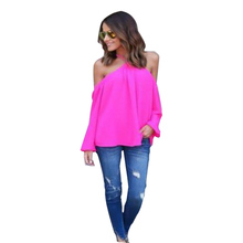 Women Summer  Sexy Sling V-Neck  Long Sleeve Chiffon Shirt Blouse Lady Sexy ChiffonTop Shirt Vest  Female  Blusa Cool Blouse
