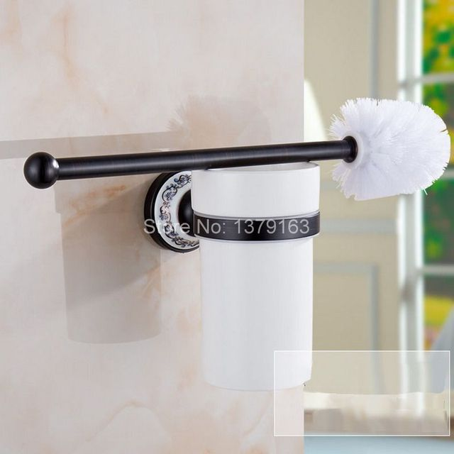 Black Oil Rubbed Bronze Wall Mounted Toilet Brush Holder Set White