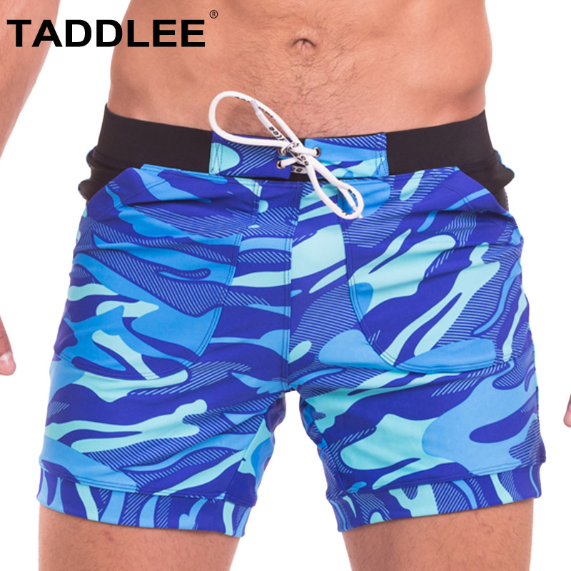 Taddlee Brand Sexy Men's Swimwear Swimsuits Boxer Briefs Trunks Board Shorts Camo Beach Boxer Basic Long Bathing Suits