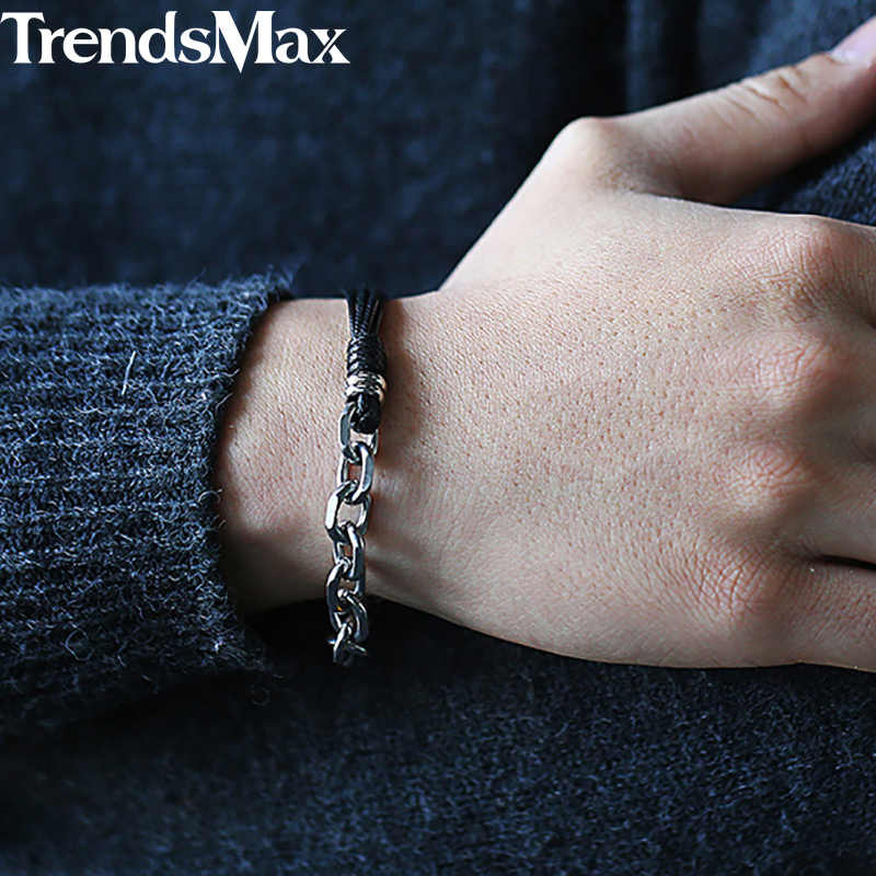 Trendsmax Leather Bracelet for Men Women Stainless Steel Cable Chain Link Bracelet 2018 Men Fashion Jewelry Gifts 20cm KDLB35