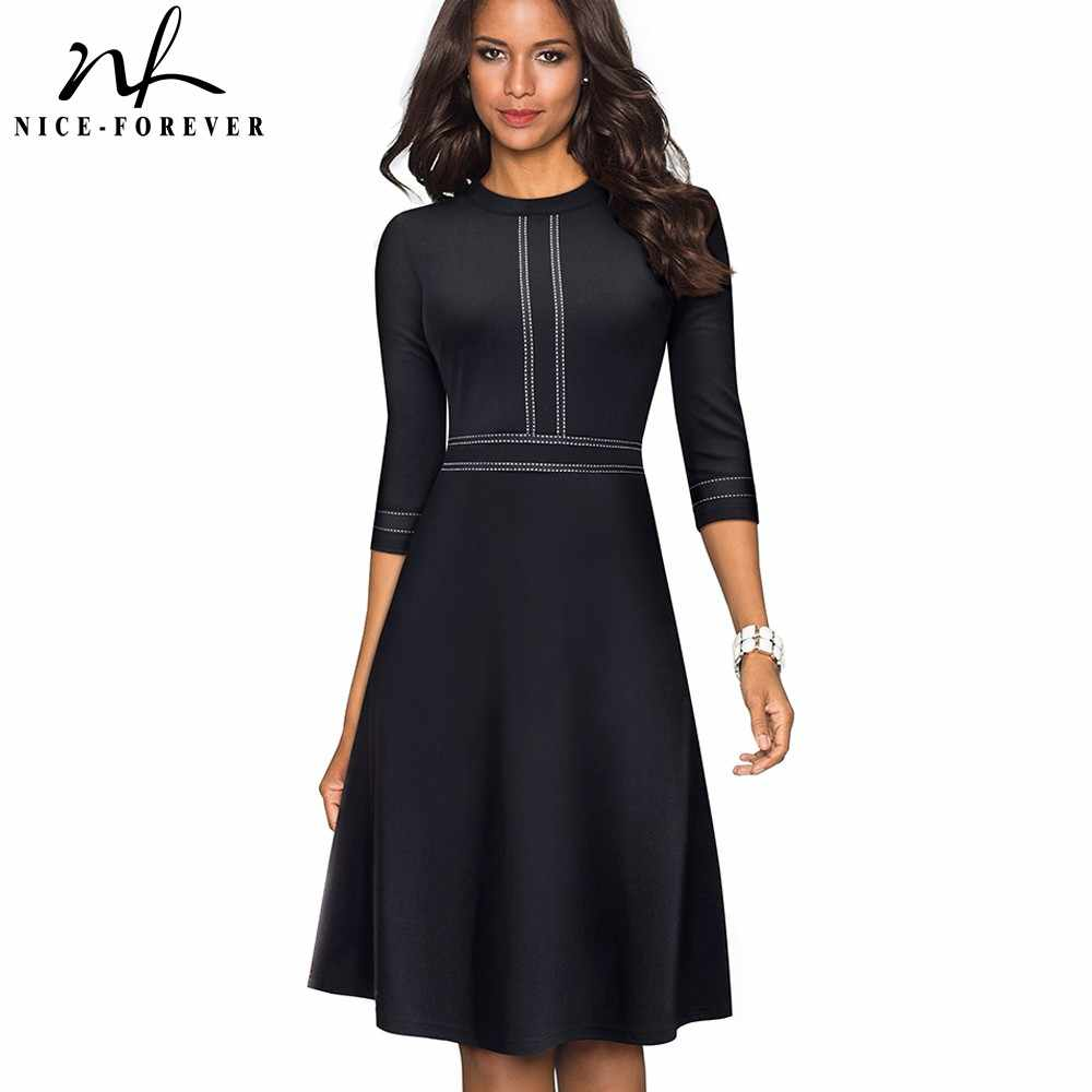 Nice-forever Vintage Elegant Patchwork Round neck Pinup Female vestidos Business Party Flare A-Line Retro Women Dress A135