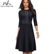 니스 영원히 빈티지 우아한 패치 워크 라운드 넥 핀업 여성 vestidos 비즈니스 파티 플레어 라인 레트로 여성 드레스 A135