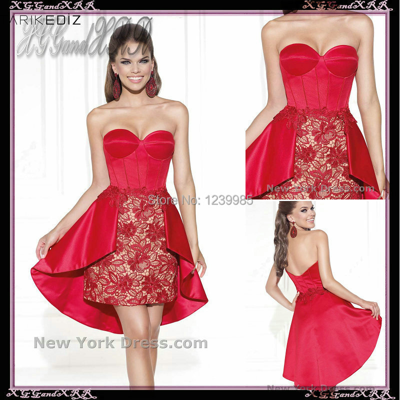 2017 Winter Formal Gown Sexy Sweetheart Lace Red Short Prom Dresses