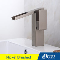 DUZI Waterfall Water Mixer Antique Brass Bathroom Sink Faucet Hot and Cold Bathroom Vanity Basin Mixer Tap Waterfall Faucets