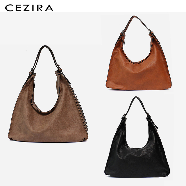 CEZIRA Brand Fashion Shoulder Bags for Women 2018 Designer Casual Big Tote Handbag Female Zipper Studs Pu Leather Ladies Purse 2