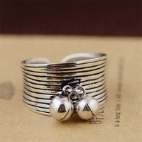 BESTLYBUY S925 Pure Silver Archaize Thai Silver Bells Women Ring Opening Female Model Free Shipping