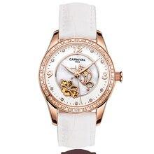 Women Watches Carnival Luxury Brand Watch Women Automatic Mechanical Wrist Watch Sapphire Skeleton relogio feminino C8009L-4