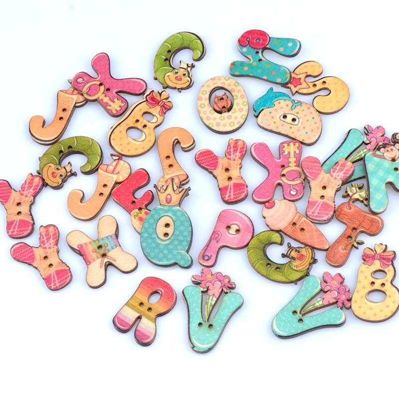 50pcs 20 40mm random mixed cartoon letteralphabet wooden decorative buttons for sewing
