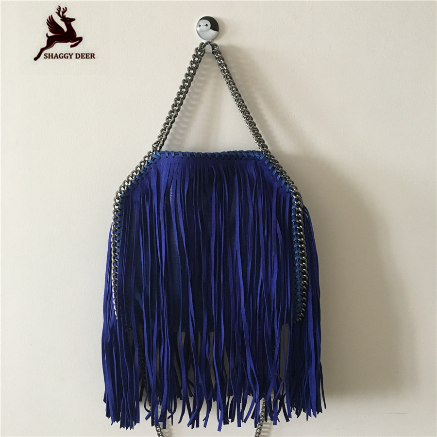 Shaggy Deer Luxury Women 25cm Tassel Blue Falabella Design Chain Crossbody Shoulder Bag in Real Picture High Quality Handbag affenzahn рюкзаки и сумки на пояс