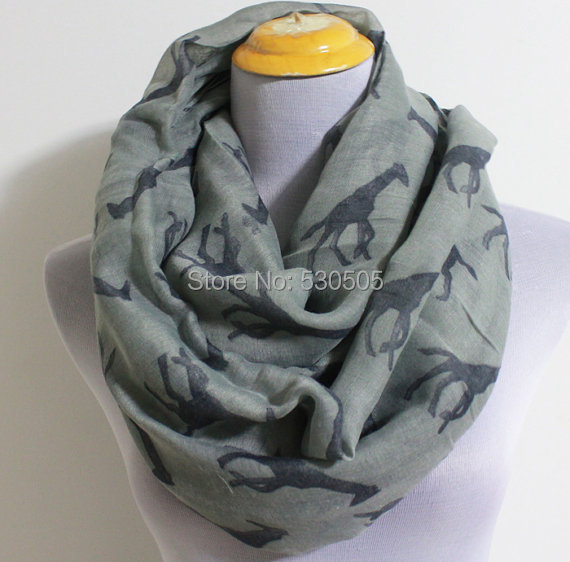 gray giraffe infinity scarf cute giraffe scarf large infinity scarf with giraffe print christmas gift