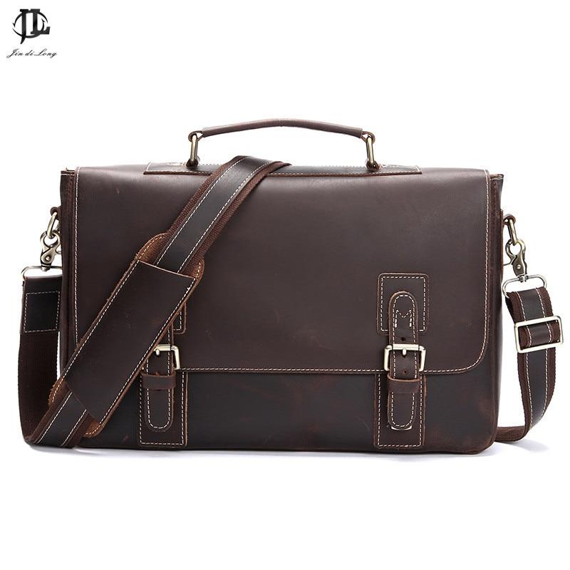New Retro Crazy Horse Vintage Men's Briefcase 14'' Laptop bag Business Case Messenger Bag Men Shoulder Bag Crossbody Bag