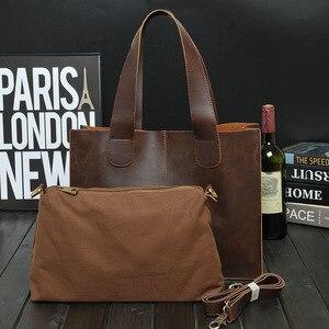 Image 2 - New Vintage Leather Briefcases Men Messenger Bag Brown/Black Luxury Business Briefcase Document Lawyer Laptop Bag Wholesale