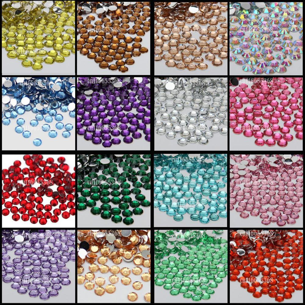 10000 pcs 5mm SS20 Resin Rhinestone 14 Facets Gem Flat Back Crystal Beads DIY Beauty Nail Art Phone Case 12 facets of a crystal