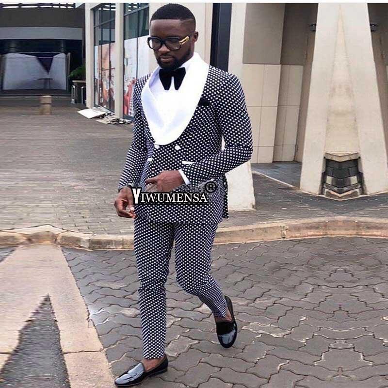Hoge Kwaliteit Bruidegom Man Suit Tuxedos Double Breasted Marineblauw Dot Shawl Revers Bruidsjonkers Best Mens Wedding Suits (Jasje + broek)-in Pakken van Mannenkleding op  Groep 1