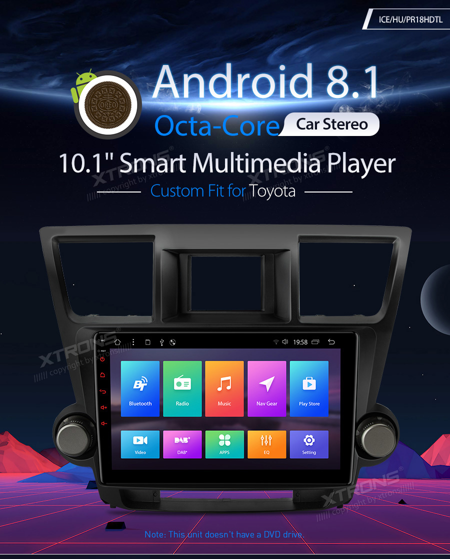 10.1 Android 8.1 Octa core Car Stereo Player GPS Radio Multimedia for Toyota Highlander 2008 2009 2010 2011 2012 2013 No DVD