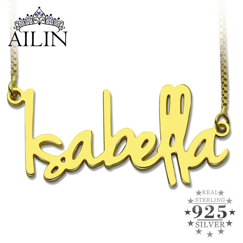 Wholesale Gold Color Personalized Name Necklace Tiny Nameplate Retro Style Custom Name Pendant Valentine's Day Jewelry