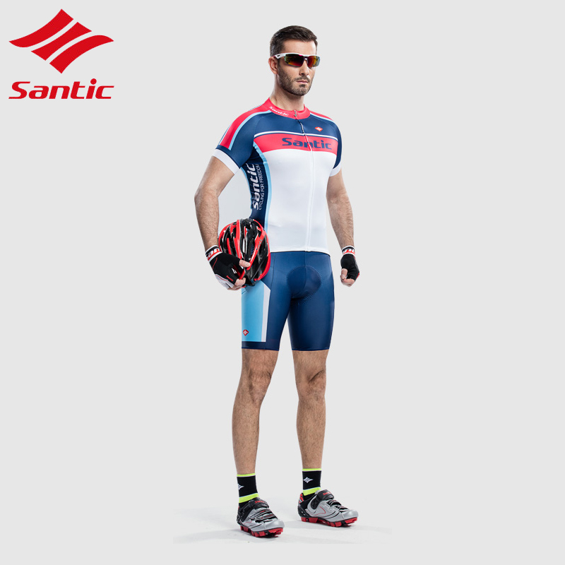 Santic Padded Cycling Jersey Set Men Breathable Quick Dry Sportswear Bicycle Bike Jersey Suit Cycling Clothing Ropa Ciclismo veobike 2017 pro men cycling jersey set breathable mtb clothes quick dry bicycle summer sportswear bike jerseys ropa ciclismo