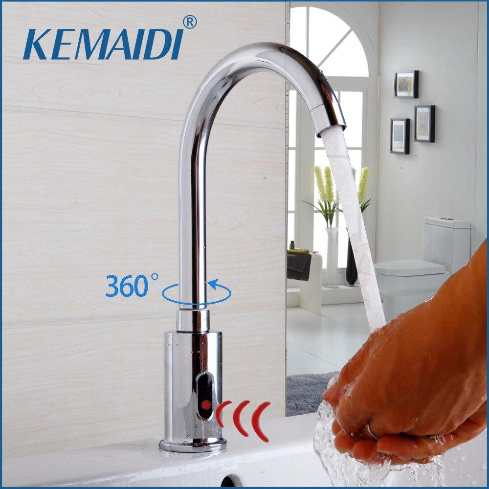 KEMAIDI 360 Поворотный кран для раковины для ванной комнаты смеситель для горячей и холодной воды без касания инфракрасный кран для раковины авт...
