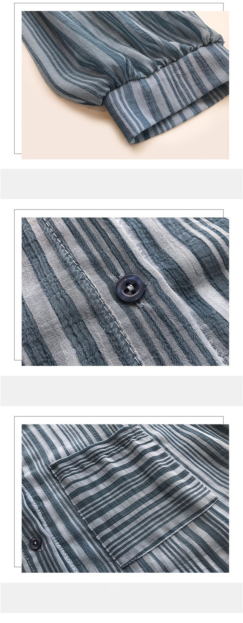 Summer Tops For Women 2019 Loose Lantern Sleeves Striped Shirt Female Chiffon Cardigan Wild Sun Protection Clothings (13)