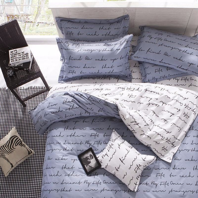 Top Letter Printing Bedding sets King Activity Duvet Cover Sets King Size 4PCS Quilts cover Sheet Set Bedroom Bedding Bed LinenTop Letter Printing Bedding sets King Activity Duvet Cover Sets King Size 4PCS Quilts cover Sheet Set Bedroom Bedding Bed Linen