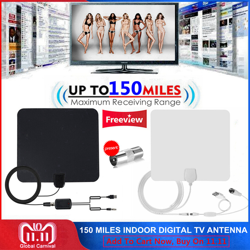 150 Miles Indoor DTV Digital TV Antenna HDTV Antena HD Cable TV Antena with Signal Amplifier Booster DVB-T/T2 UHF VHF Antennas цены
