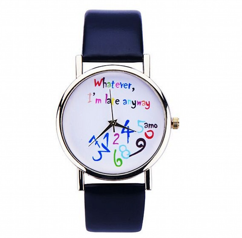 2016 unisex Whatever I am Late Anyway watch fashion mens women leather watches colorful design dress quartz casual watch new fashion funny women watches men watch clock analog quartz whatever i m late anyway pattern wrist watch simple wristwatches