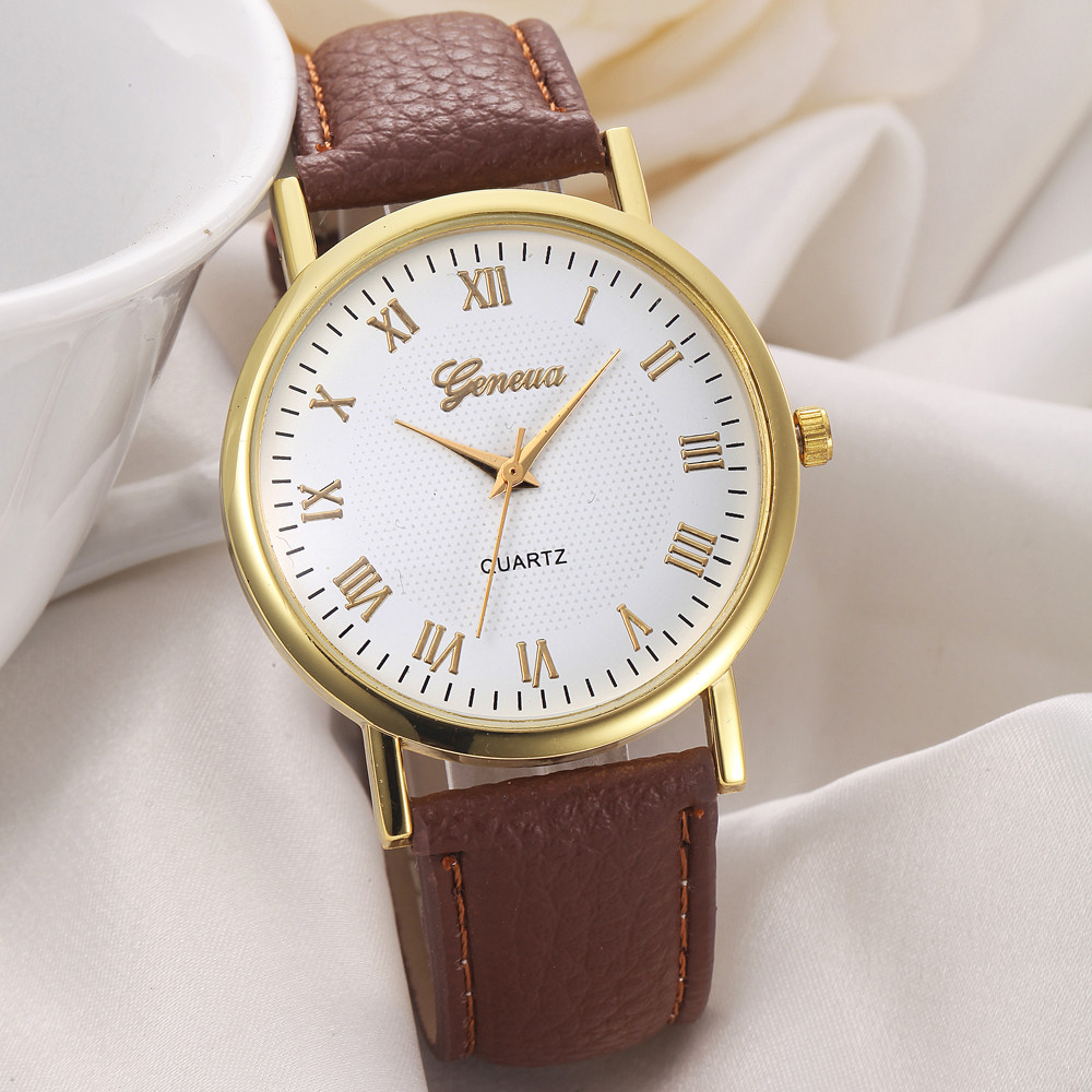 Fashion geneva watch casual women men unisex watches fause leather band analog quartz wrist for Watches geneva
