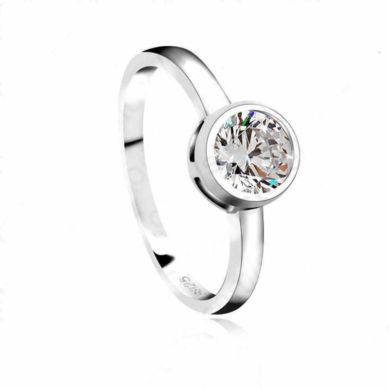 חדש באיכות גבוהה 925 סטרלינג תכשיטי כסף קסם אישה חתונה AAA + קריסטל CZ קלאסי טבעת משלוח חינם