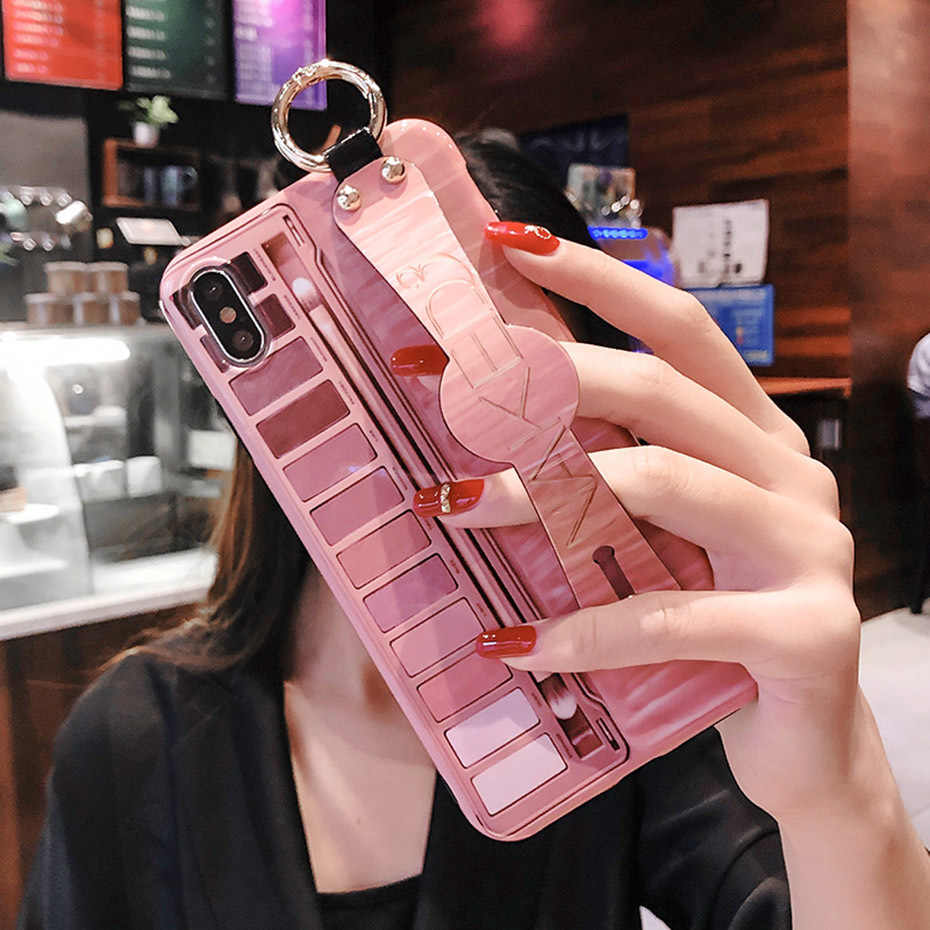 Makeup untuk iPhone 11 Pro XR X XS Max Mewah Chic Eye Shadow Tali Pergelangan Tangan untuk iPhone 8 7 6 6S Plus Cover Casing