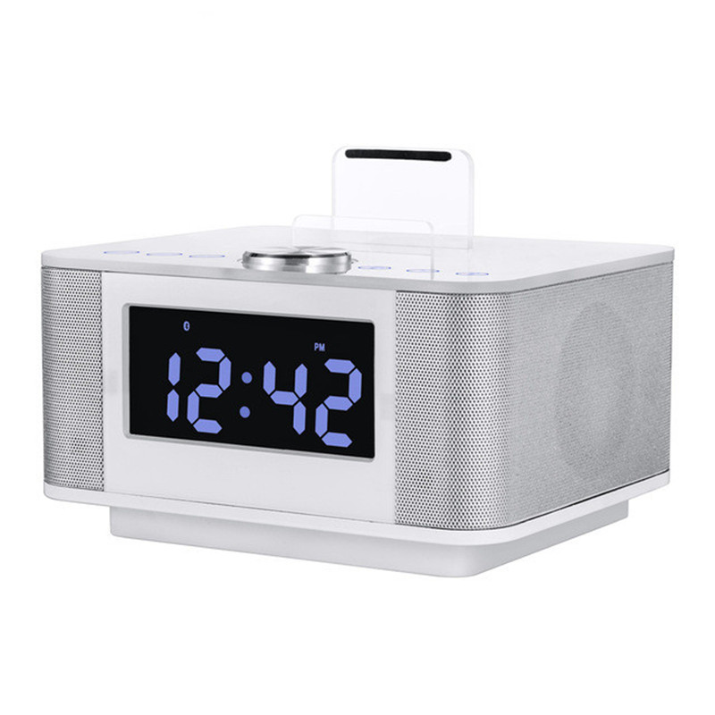 K5 Dock Station LCD Alarm Clock Stereo 2.0 Subwoofer Music Bluetooth Speaker Support AUX Dual USB Handsfree Snooze Mute FM Radio купить в Москве 2019