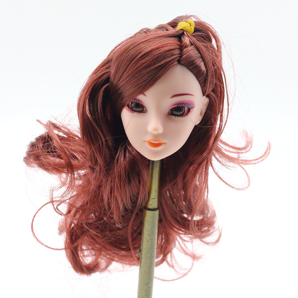 1Pcs 3D eyes Doll Head Brown cruly Hair Life like Eyes DIY Equipment For Barbie Doll Finest Woman' Present Little one DIY Toys