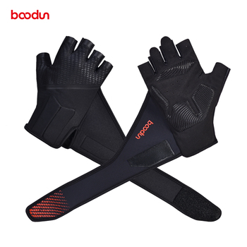 цена Professional Gym Gloves with Lengthen Wrist Belt Protection Antislip Shockproof Weight Lifting Training Fitness Sport Gloves онлайн в 2017 году