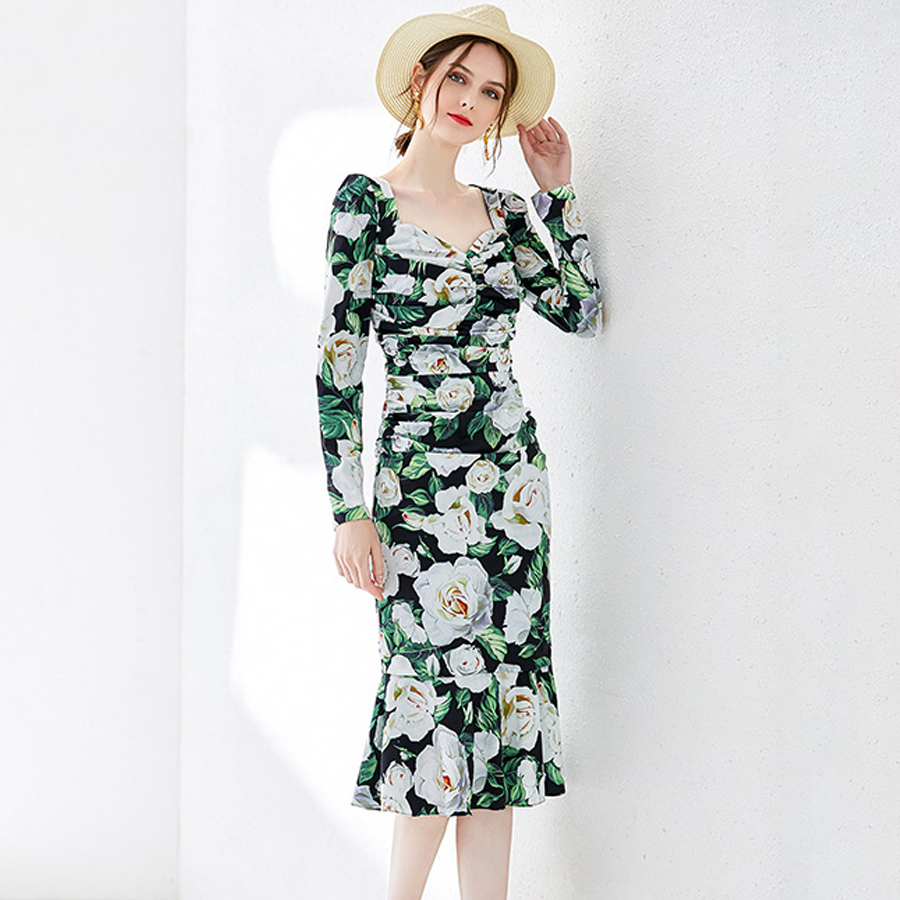 VERDEJULIAY Runway Bodycon Dress 2019 Summer Women Holiday Cotton Full Sleeve Romantic Rose Print Elegant Trumpet