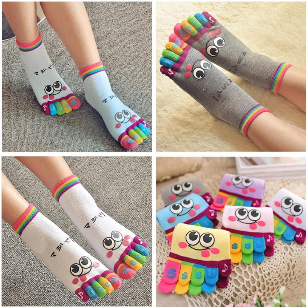 Lady Woman Girl Smile Five Fingers Trainer Toe Ankle Sock