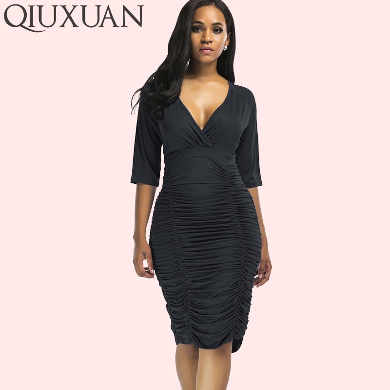 US $16.82 35% OFF|QIUXUAN Plus Size Ruched Knee Length Dress Raglan Sleeve  Wrap Dress Fashion Plunge Neck High Waist Dress Women Bodycon Dress-in ...