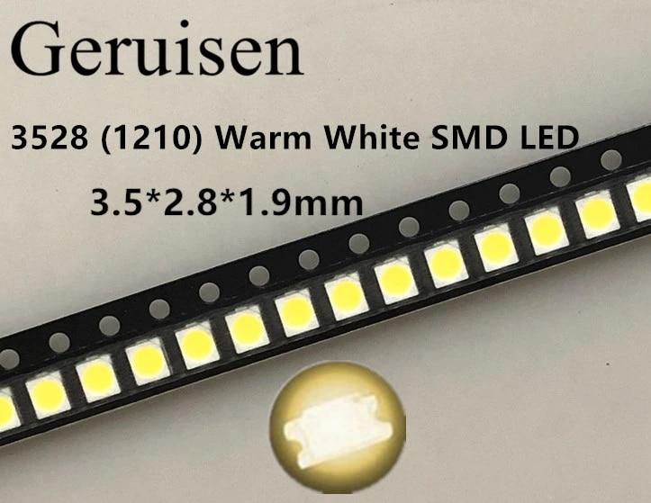 100 3528 Warm White 1210 PLCC-2 LED Bulb Light Lamp House Power Top SMD SMT Chip