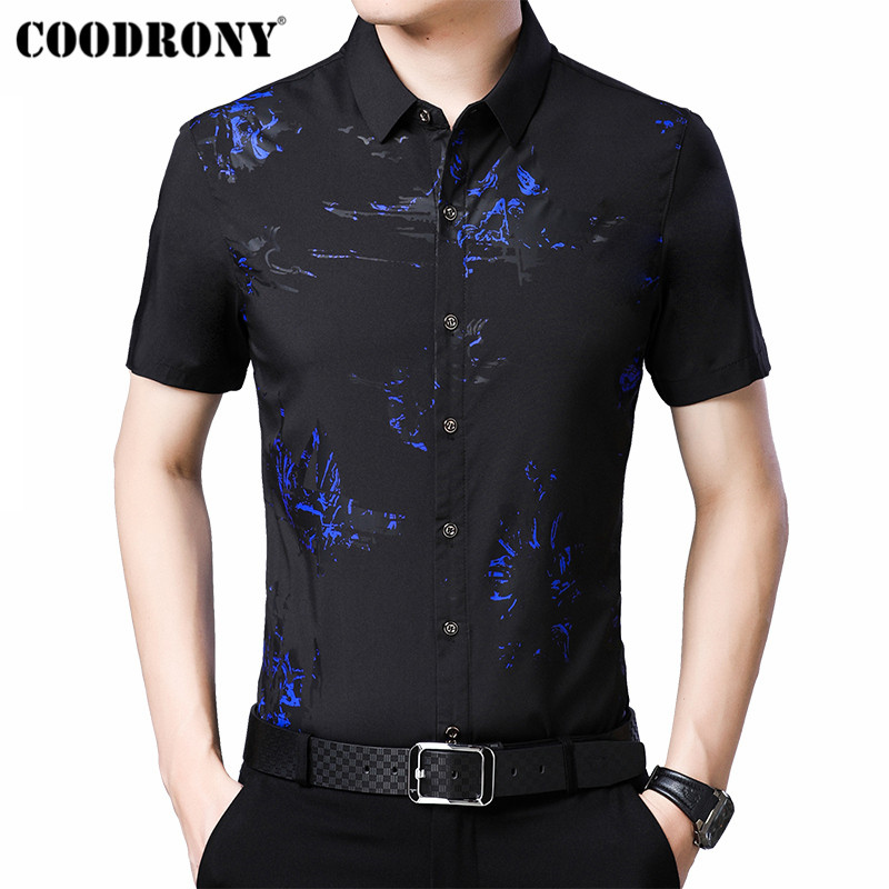 COODRONY 2019 Summer Cool Fashion Print Shirt Men Slim Fit Short Sleeve Men Shirt Business Casual Shirts Camisa Masculina S96023