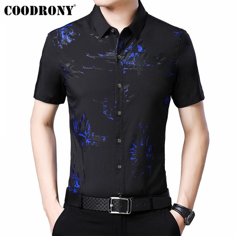COODRONY 2019 Summer Cool Fashion Print Shirt Men Slim Fit Short Sleeve Men Shirt Business Casual Shirts Camisa Masculina S96023
