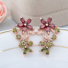 RONGQING Fashion Rose Gold AAA Zircon Flower Earrings for Women Unique Flower Earrings Sister Gift High Quality