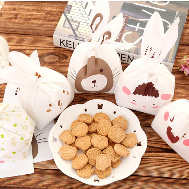 20pcs Lot Cute Rabbit Ear Biscuit Bag Moisture Proof Plastic Candy Box Cookie Bags Snack