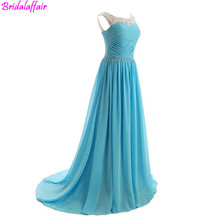 2018 Fashion Blue Evening Dress Long Luxury Gowns for women robe de soiree party long dress Chiffon Made In China