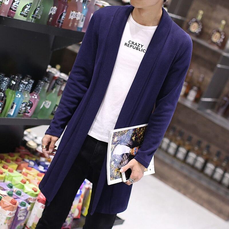 2017 весна осень модный бренд мужская чистый цвет длинный тонкий кардиган свитер/тонкий корпус большой размер свитер кардиган/размер S-5XL